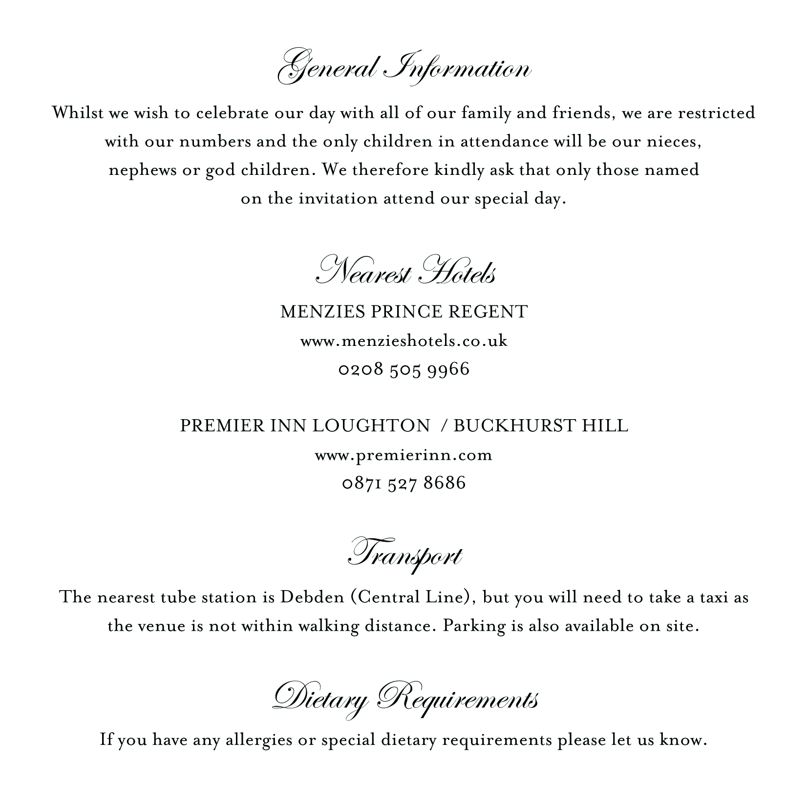 blog tips writing your wedding information inserts