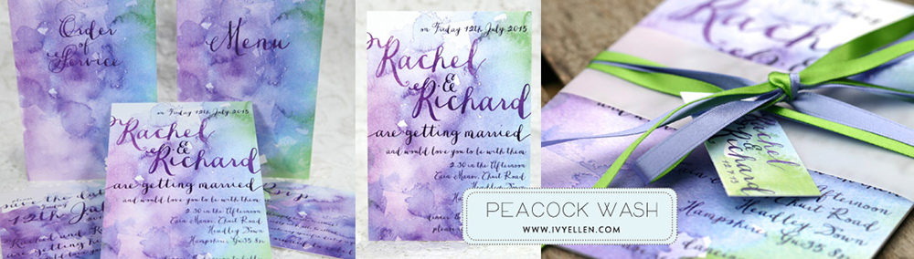 Peacock Wash banner - Colour Pop Wedding Stationery