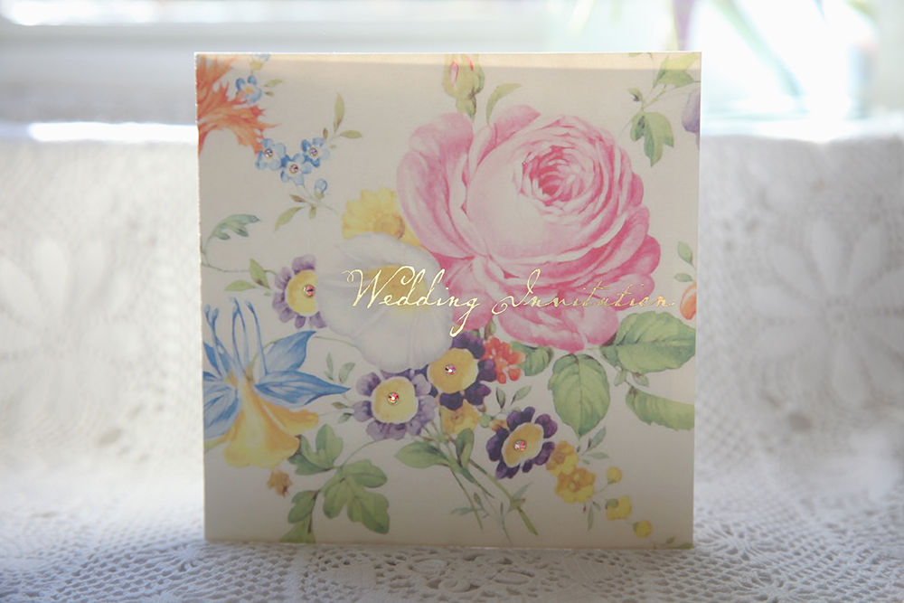 vintage floral history of wedding invitation