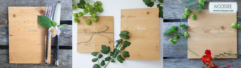 woodside-banner wood effect wedding invitation