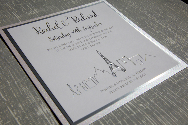 paris-silver Paris Wedding Invitationn