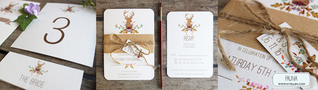 FAUNA BANNER - floral stag wedding stationery
