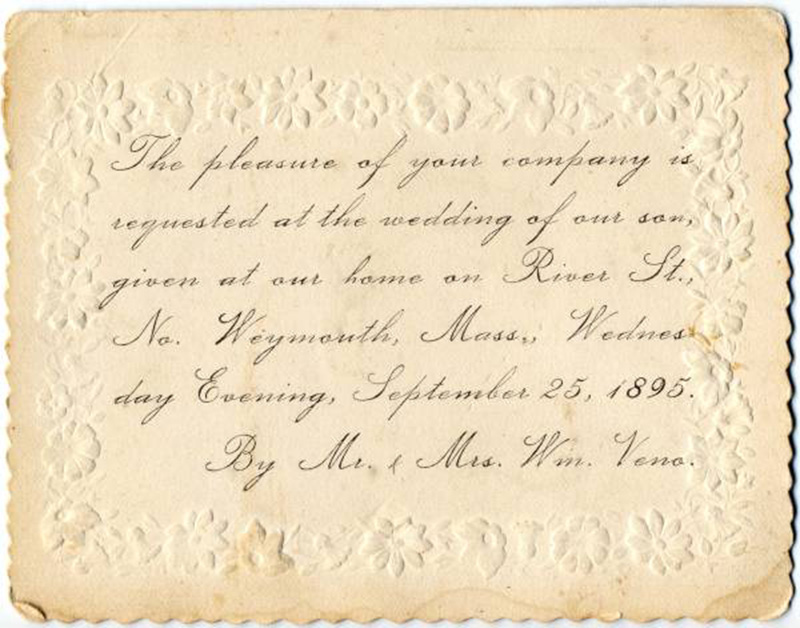 history of wedding invitation - 1895