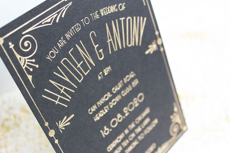 gatsby wedding invitations - close up