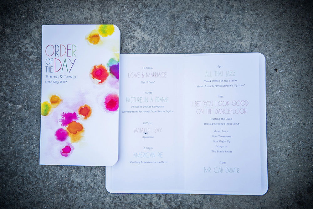 order of the day music themed wedding